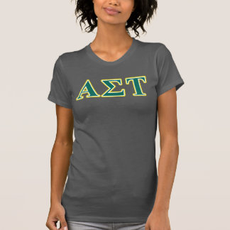 Alpha Sigma Tau Yellow and Green Letters T-Shirt