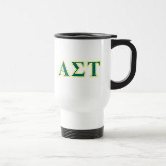 Alpha Sigma Tau Yellow and Green Letters Travel Mug