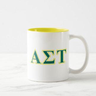 Alpha Sigma Tau Yellow and Green Letters Two-Tone Coffee Mug