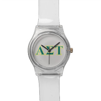 Alpha Sigma Tau Yellow and Green Letters Watch
