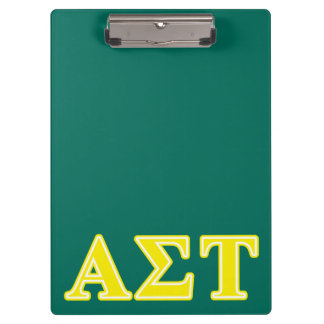 Alpha Sigma Tau Yellow Letters Clipboard