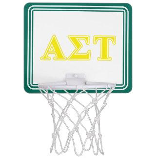 Alpha Sigma Tau Yellow Letters Mini Basketball Hoop