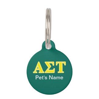 Alpha Sigma Tau Yellow Letters Pet Tag