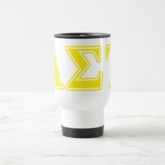 Alpha Sigma Tau Yellow Letters Travel Mug