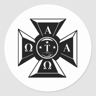 Alpha Tau Omega Badge Black & White Classic Round Sticker
