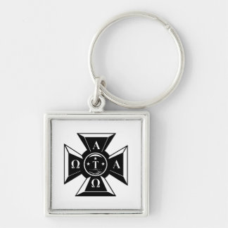 Alpha Tau Omega Badge Black & White Key Ring