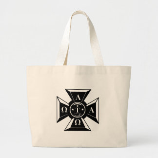 Alpha Tau Omega Badge Black & White Large Tote Bag