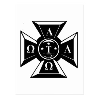Alpha Tau Omega Badge Black & White Postcard