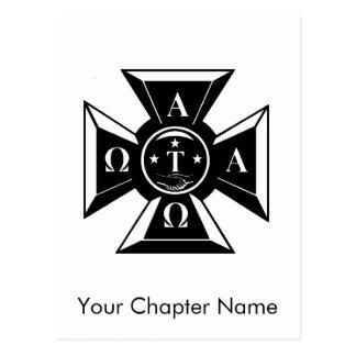Alpha Tau Omega Badge Black & White Postcard