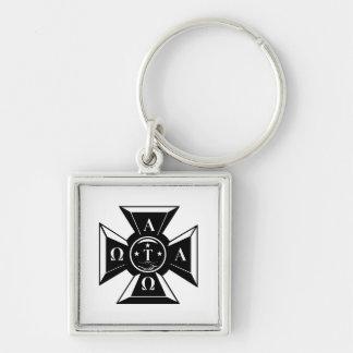 Alpha Tau Omega Badge Black & White Silver-Colored Square Key Ring