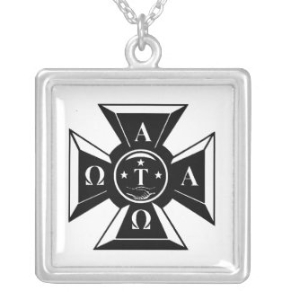 Alpha Tau Omega Badge Black & White Silver Plated Necklace