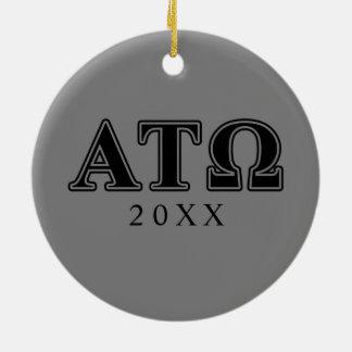 Alpha Tau Omega Black Letters Christmas Ornament