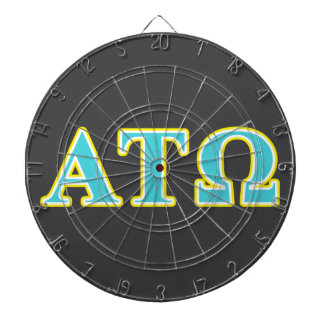 Alpha Tau Omega Blue and Yellow Letters Dartboard