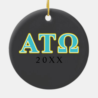 Alpha Tau Omega Blue and Yellow Letters Round Ceramic Decoration