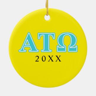 Alpha Tau Omega Blue Letters Christmas Ornament