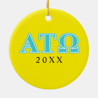 Alpha Tau Omega Blue Letters Round Ceramic Decoration