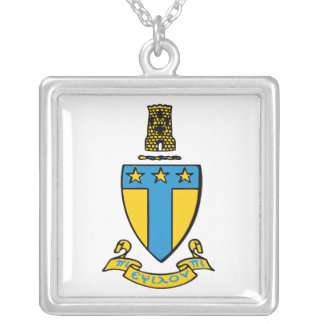 Alpha Tau Omega Color Crest Silver Plated Necklace