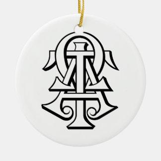 Alpha Tau Omega Interlocked Letters Christmas Ornament