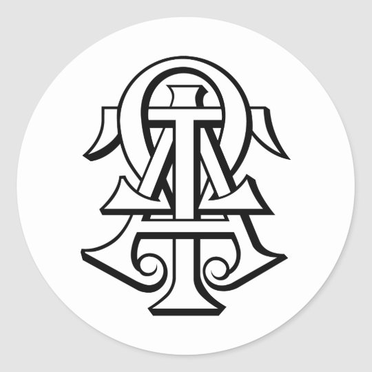 Alpha Tau Omega Interlocked Letters Classic Round Sticker