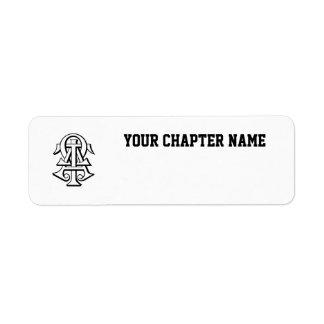 Alpha Tau Omega Interlocked Letters Return Address Label