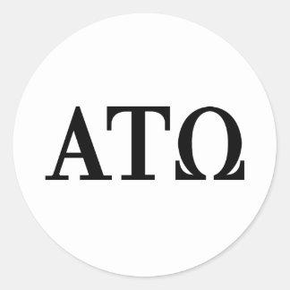 Alpha Tau Omega Letters Classic Round Sticker