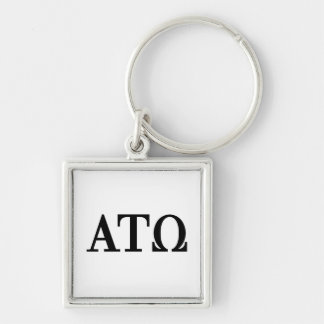Alpha Tau Omega Letters Silver-Colored Square Key Ring