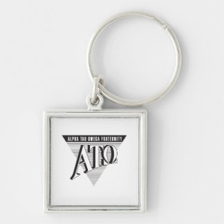 Alpha Tau Omega Name and Letters Silver-Colored Square Key Ring