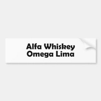Alpha Whiskey omega Lima AWOL Bumper Sticker