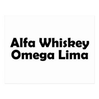 Alpha Whiskey omega Lima AWOL Postcard