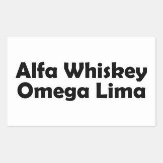 Alpha Whiskey omega Lima AWOL Rectangular Sticker