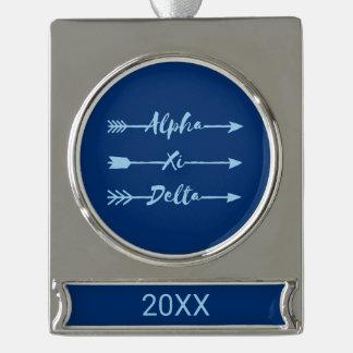 Alpha Xi Delta Arrow Silver Plated Banner Ornament