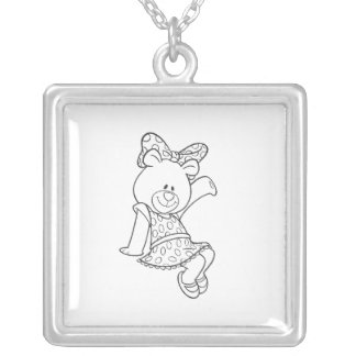 Alpha Xi Delta Bear Silver Plated Necklace