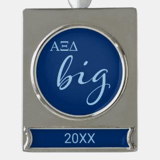 Alpha Xi Delta Big Script Silver Plated Banner Ornament