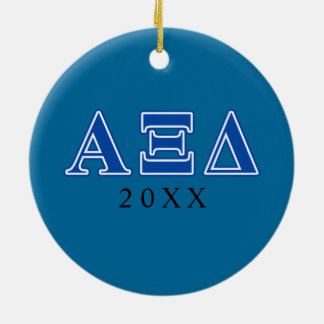 Alpha Xi Delta Blue Letters Christmas Ornament