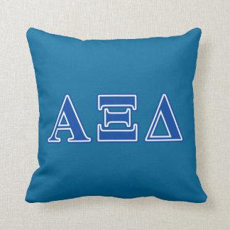 Alpha Xi Delta Blue Letters Cushion