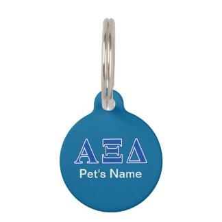 Alpha Xi Delta Blue Letters Pet ID Tag