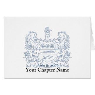 Alpha Xi Delta Crest Blue Card