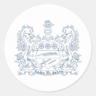 Alpha Xi Delta Crest Blue Classic Round Sticker