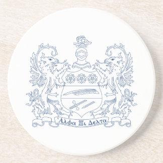 Alpha Xi Delta Crest Blue Coaster