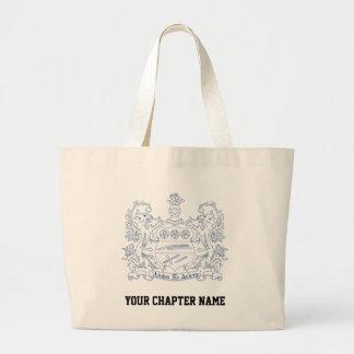 Alpha Xi Delta Crest Blue Large Tote Bag