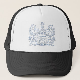 Alpha Xi Delta Crest Blue Trucker Hat