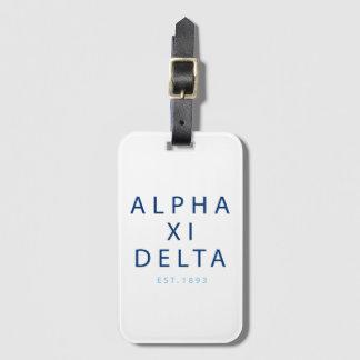 Alpha Xi Delta Modern Type Luggage Tag