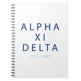 Alpha Xi Delta Modern Type Notebook