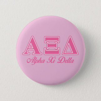 Alpha Xi Delta Pink Letters 6 Cm Round Badge
