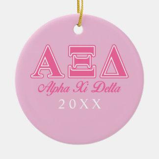 Alpha Xi Delta Pink Letters Christmas Ornament