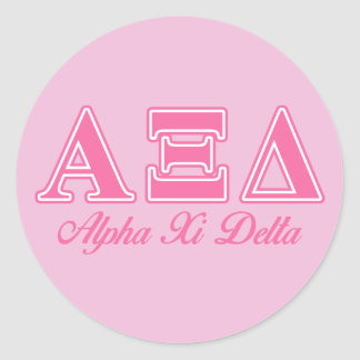 Alpha Xi Delta Pink Letters Classic Round Sticker