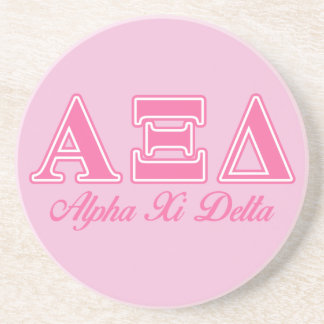 Alpha Xi Delta Pink Letters Coaster