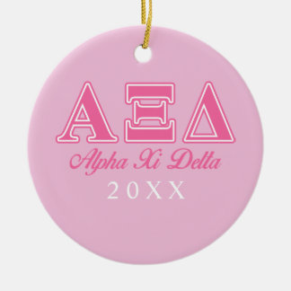 Alpha Xi Delta Pink Letters Round Ceramic Decoration