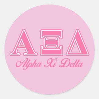 Alpha Xi Delta Pink Letters Round Sticker