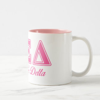 Alpha Xi Delta Pink Letters Two-Tone Coffee Mug
